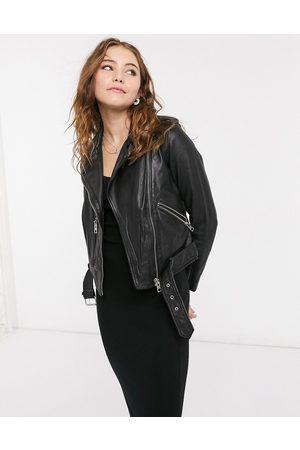 AllSaints Balfern leather biker jacket in black