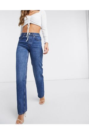 ASOS Organic mid rise '90's' straight leg jeans in rich 70's blue
