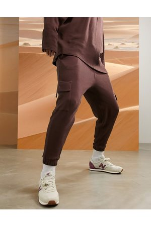 ASOS Co-ord oversized joggers in chocolate brown waffle with cargo pockets