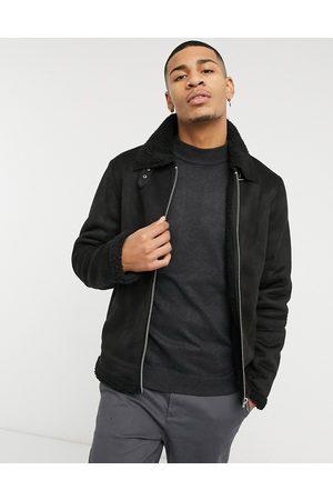 Barneys Originals Homem Casacos de Pele - Barney's Originals faux suede jacket with zip front in black