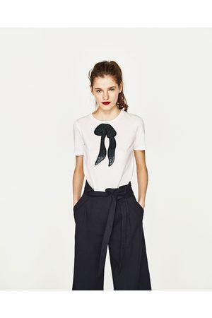 Senhora T-shirts & Manga Curta - Zara T-SHIRT LANTEJOULAS