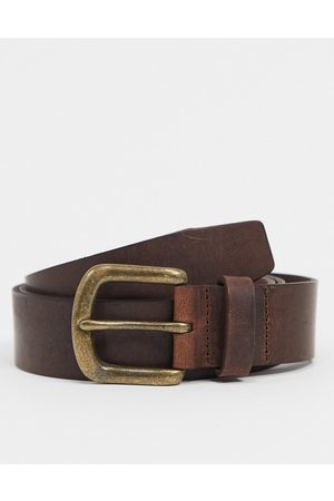 ASOS Leather slim belt in brown with vintage finish