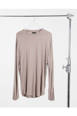 ASOS Relaxed fit long sleeve viscose t-shirt with balloon sleeve in washed pink