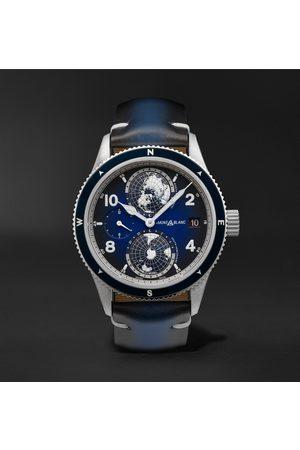 Mont Blanc Homem Relógios - 1858 Geosphere Automatic 42mm Titanium, Ceramic and Leather Watch, Ref. No. 125565