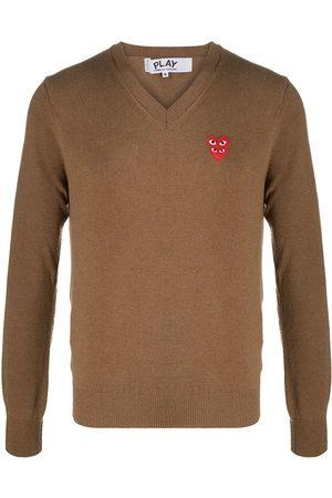 Comme des Garçons Homem Camisolas - Logo heart embroidered jumper