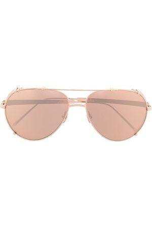 Linda Farrow Bronze aviator sunglasses