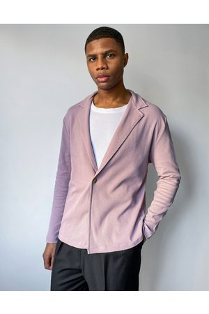 ASOS Relaxed fit long sleeve waffle wrap jersey shirt in washed purple