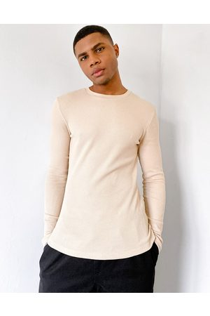 ASOS Muscle fit long sleeve waffle t-shirt in beige