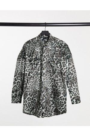 ASOS 90s oversized shirt in grey velvet animal skin print