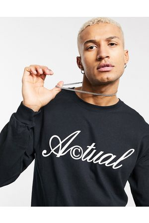 ASOS Actual Long sleeve t-shirt in black with front logo