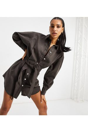 ASOS ASOS DESIGN Tall denim oversized belted shirt dress in chocolate-Brown