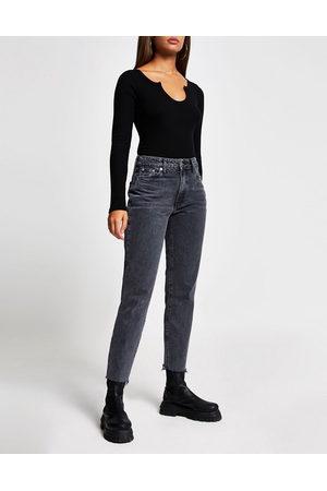 River Island Blair high rise straight cut raw hem jeans in washed black