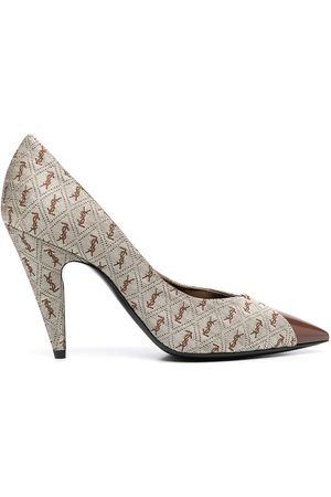 Saint Laurent All-over logo pointed pumps