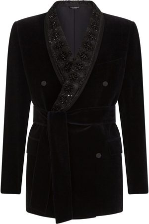Dolce & Gabbana Homem Blazers - Belted velvet blazer jacket