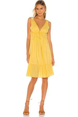 MAJORELLE Esther Midi Dress in - Yellow. Size L (also in M, S, XL, XS, XXS).