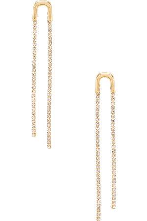 Ettika Double Crystal Drop Earring in - Metallic . Size all.