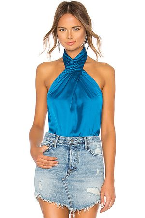superdown Amerie Pleated Halter Top in - Royal. Size M (also in L, S, XL, XS, XXS).