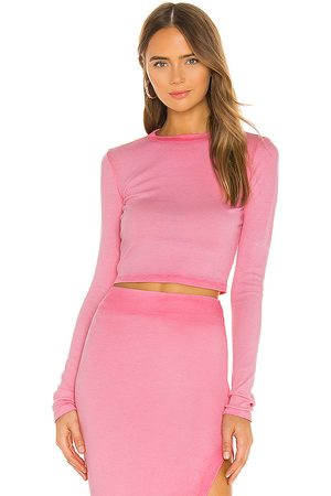 COTTON CITIZEN X REVOLVE Verona Crop Long Sleeve in - Pink. Size L (also in XS, S, M).
