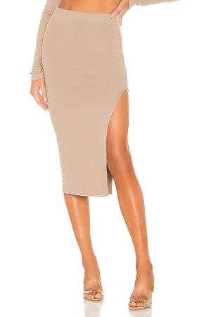 Cotton Citizen X REVOLVE Melbourne Midi Skirt With Slit in - Taupe. Size M (also in S).