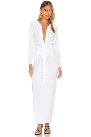 Norma Kamali Tie Front NK Shirt Dress in - . Size L (also in M, S, XL, XS, XXS).