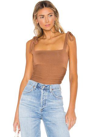 MAJORELLE Lauren Bodysuit in - Brown. Size L (also in M, S, XL, XS, XXS).