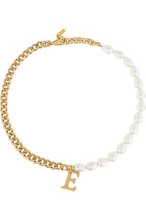 Martha Calvo Senhora Colares - Pearl + Chain Initial Necklace in - Metallic . Size B (also in F).