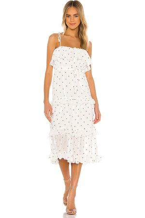 MAJORELLE Edna Midi Dress in - White. Size L (also in M, S, XL, XS, XXS).