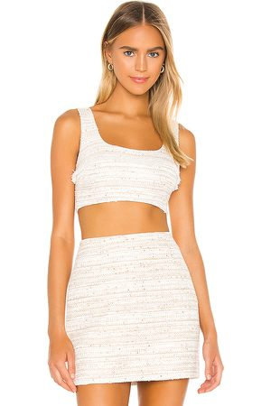 L'Academie The Risa Crop Top in - Ivory. Size L (also in M, S, XL, XS).