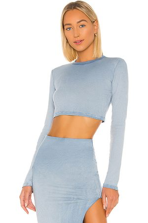 COTTON CITIZEN X REVOLVE Verona Crop Long Sleeve in - Blue. Size L (also in S, XS).