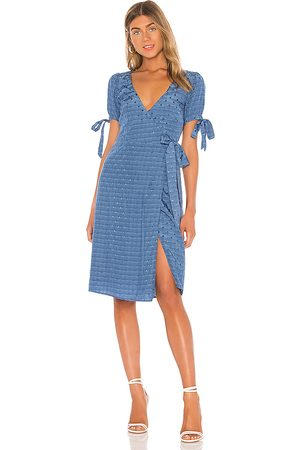 MAJORELLE Roxy Midi Dress in - Blue. Size L (also in M, S, XS, XXS).