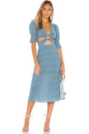 Tularosa Nanette Midi Dress in - Blue. Size L (also in XXS, XS, S, M, XL).