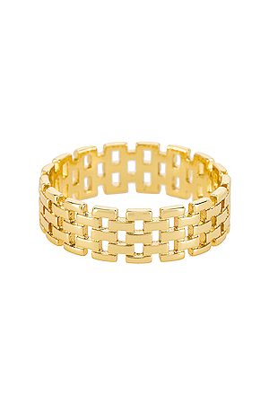Shashi Linked Band Ring in - Metallic . Size 6 (also in 7, 8).