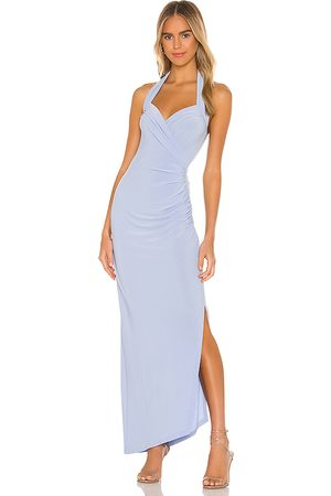 Norma Kamali X REVOLVE Halter Sweetheart Side Drape Gown in - Baby Blue. Size L (also in M, S, XS).