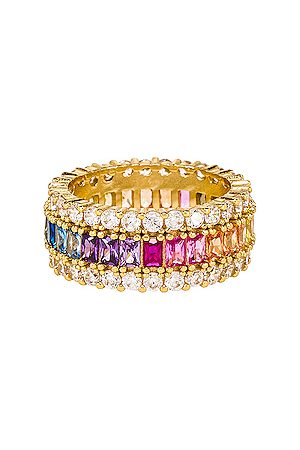 The M Jewelers Three Row Rainbow Ring in - Metallic Gold. Size 6 (also in 8).