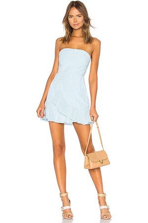 superdown Rosalie Stripe Ruffle Dress in - Blue. Size M (also in S, XL, XS, XXS).