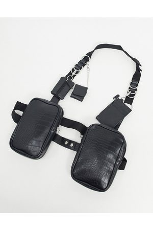 ASOS Homem Bolsas & Carteiras - Modular chest harness in black faux leather with clip on wallets
