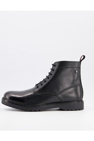 Base London Forge lace up boot in waxy black leather