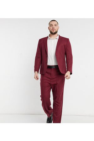 ASOS Plus wide leg suit trousers in burgundy twill-Red