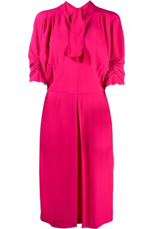 Marni Ruched-sleeves tie-neck day dress