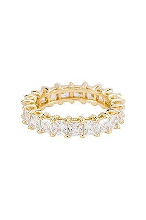 The M Jewelers The Princess Cut Eternity Band in - Metallic . Size 5 (also in 6, 7, 8).