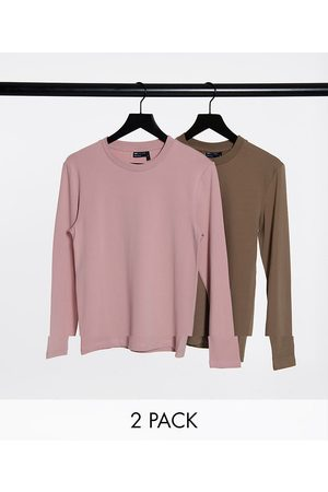 ASOS Muscle fit long sleeve t-shirt 2 pack-Multi