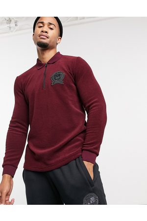 adidas Long sleeve polo top with collegiate crest in burgundy terry toweling-Red