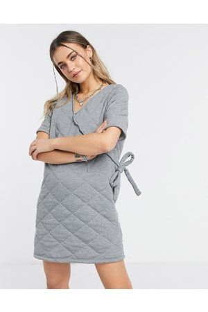 ASOS Quilted puff sleeve wrap mini dress in grey