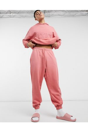 ASOS Actual Co-ord oversized joggers in faded rose wash with back pocket embroidery-Pink