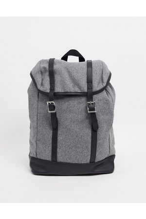 ASOS Backpack in grey melton with contrast faux leather base