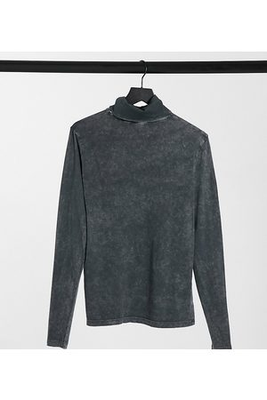 COLLUSION Long sleeve slim fit roll neck t-shirt in charcoal acid wash-Grey