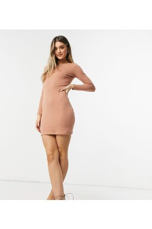 Outrageous Fortune Exclusive long sleeve mini dress in camel-Brown