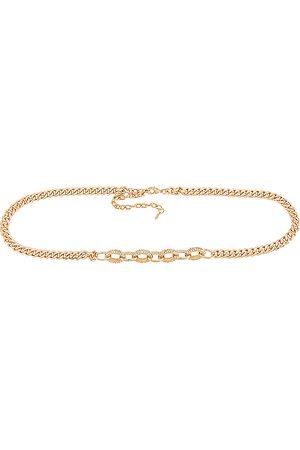 Ettika Crystal Stud Chain Belt in - Metallic . Size all.