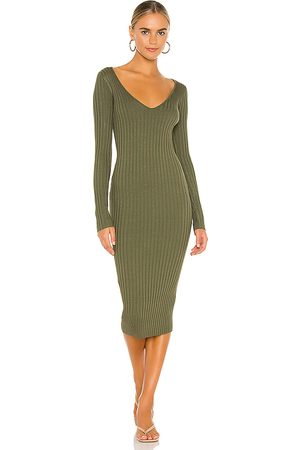 NBD Bekah Deep V Midi Dress in - Olive. Size L (also in XS, S, M).