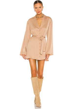LPA Dress Shirt with Waist Tie in - Tan. Size L (also in XS, S, M, XL).